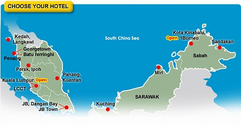 マレーシア チューンホテルズ 地図