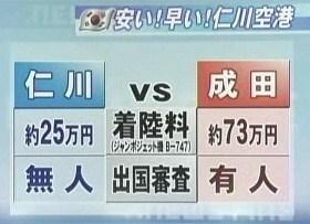 成田空港 インチョン 仁川国際空港 比較