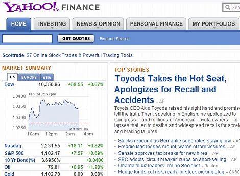 Yahoo Finance 見方 ヤフー アメリカ ファイナンス