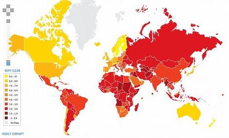 世界地図 腐敗 汚職 賄賂 清潔度 国家 CPI トランスペアレンシー